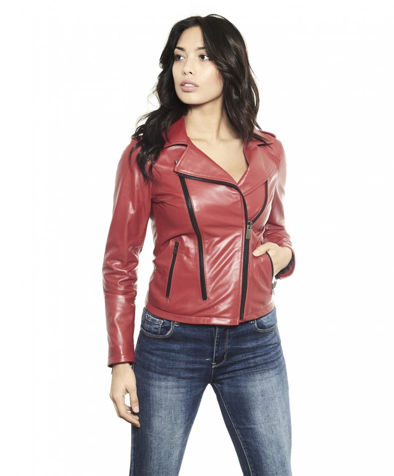 BROOK • red colour • lamb leather jacket smooth aspect