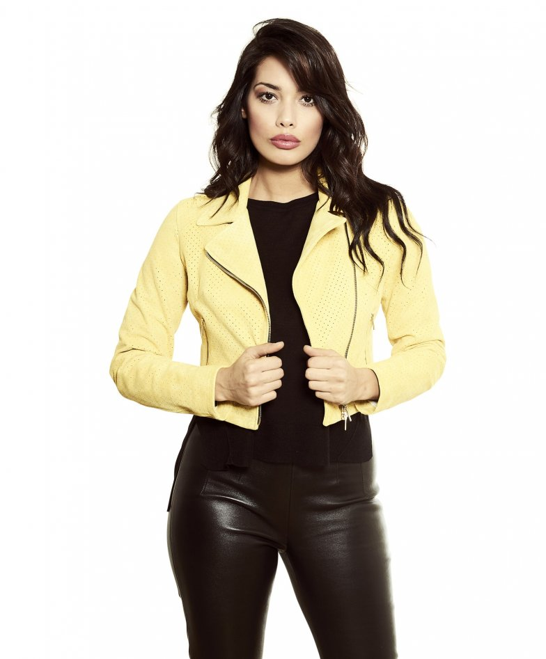 ALICE • yellow colour • lamb short suede leather jacket perfecto style