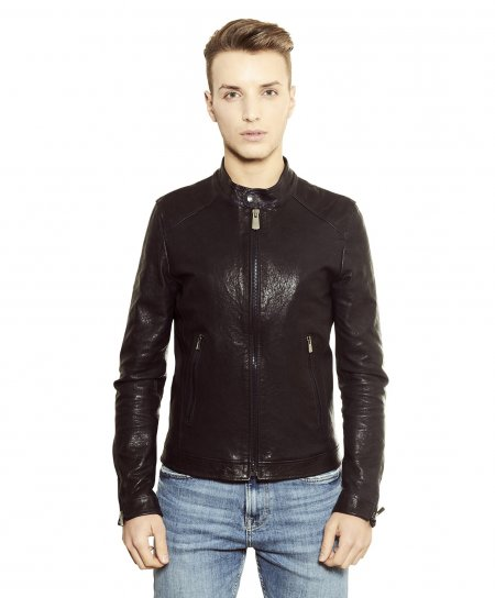 Black washed nappa lamb leather biker jacket korean collar