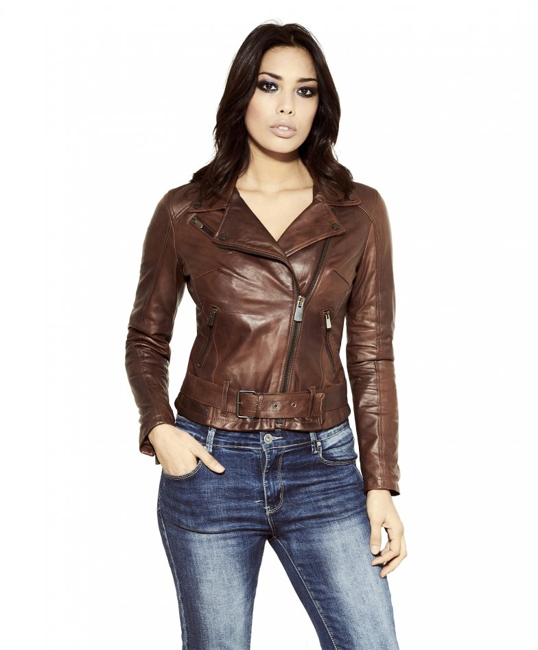 CHIODO • brown colour • nappa lamb leather belted jacket smooth aspect