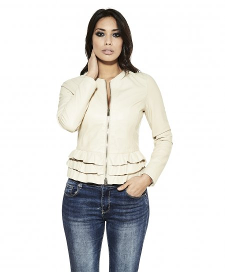 Beige nappa lamb leather jacket waist flounces