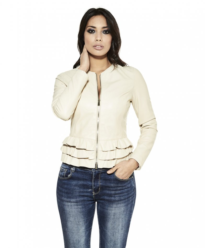 F105BL • beige colour • nappa lamb leather jacket with flounces