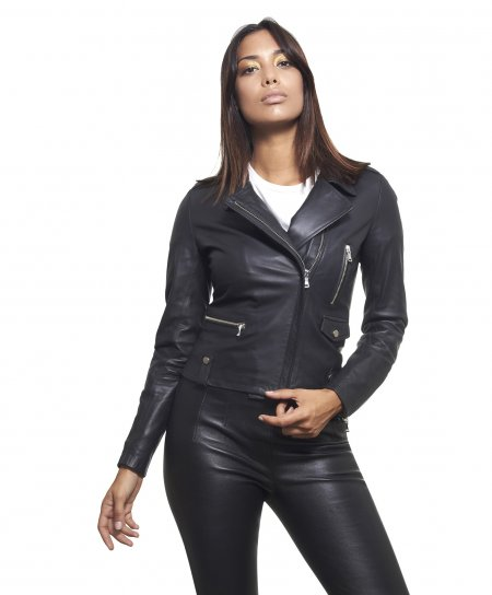 Black nappa lamb leather perfecto jacket