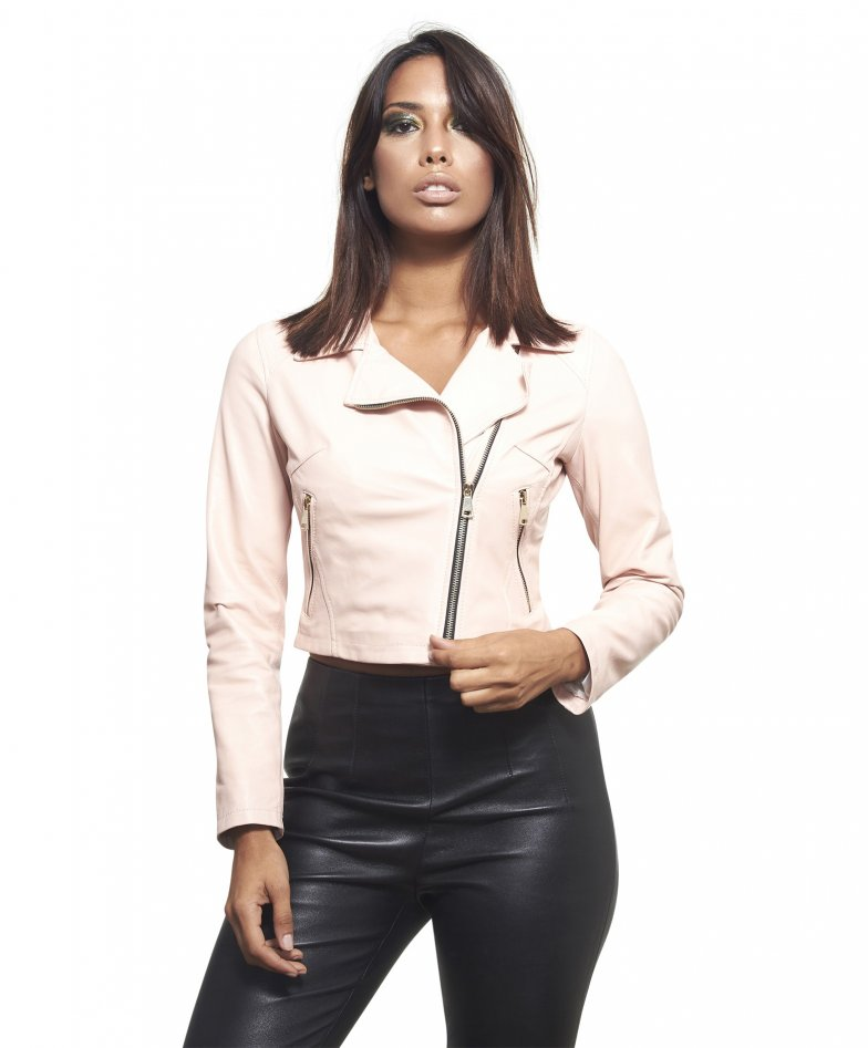ALICE • pink colour • lamb short leather jacket smooth aspect perfecto style