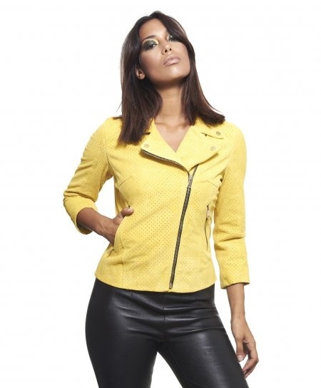 Yellow perforated suede lamb leather perfecto jacket 3/4 sleeves