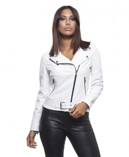 CHIODO • white colour • nappa lamb leather belted jacket smooth aspect