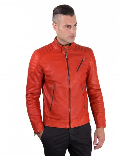Red quilted nappa lamb leather biker jacket three zipper pockets