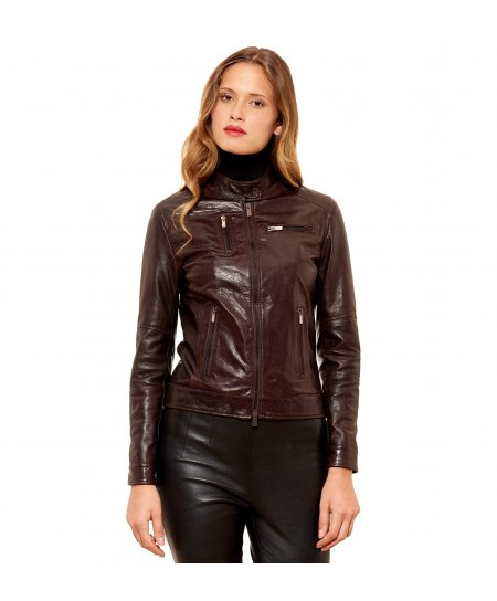 GIULIA • dark brown colour • Lamb leather biker jacket vintage aspect