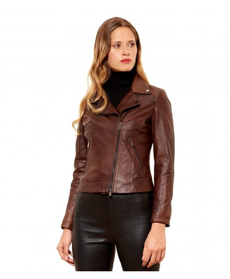 KBC • brown colour • Lamb leather perfecto jacket smooth aspect