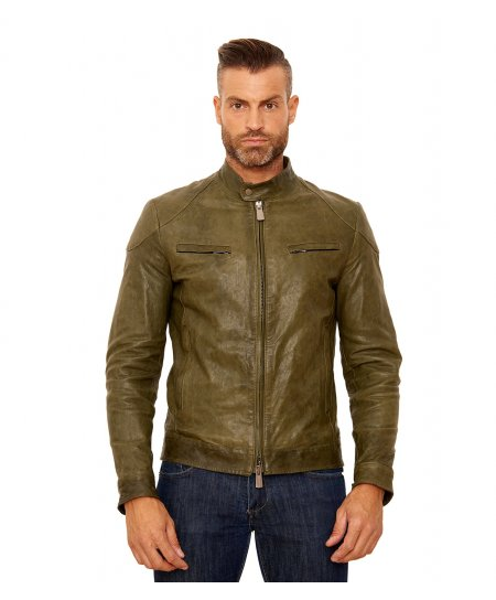 U410 BIKER • green colour • Lamb leather biker jacket quileted yoke