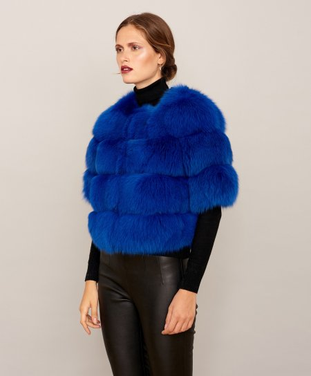 Short fox fur jacket with short sleeve • blue colour