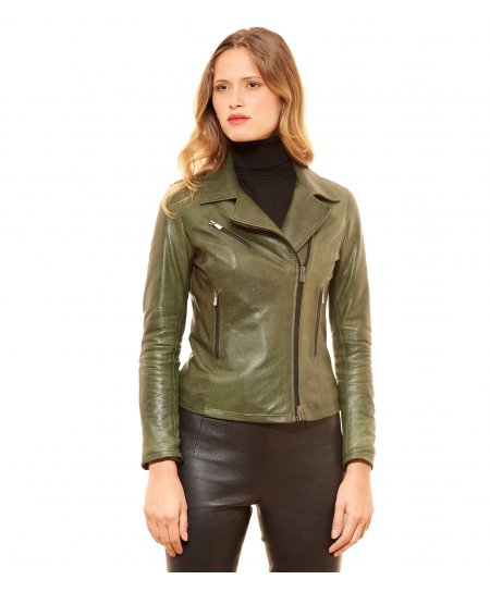 Green pull up lamb leather perfecto jacket three zipper pockets