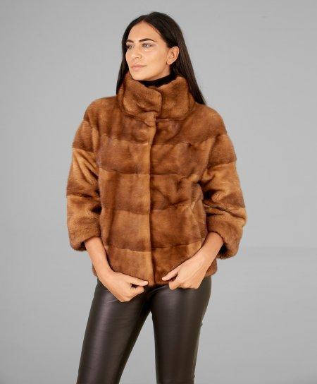Mink fur jacket sleeve 3/4 round collar • honey color