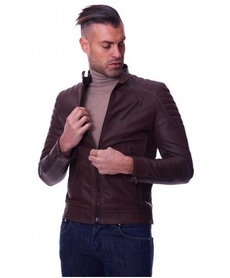 Dark brown quilted nappa lamb leather biker jacket three zipper pockets