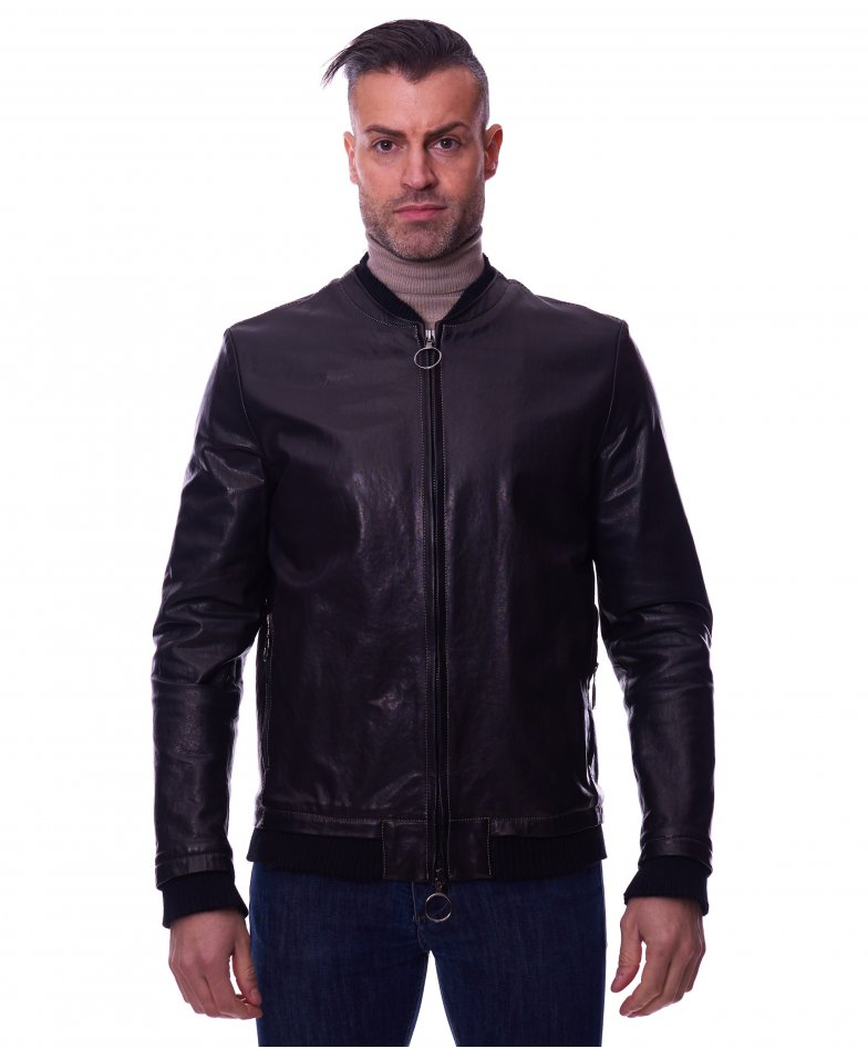 BLAKE • black colour • Washed lamb leather biker jacket banana collar